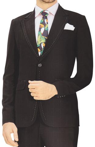 Mens Black Tuxedo Suit Wedding Designer 5 Pc