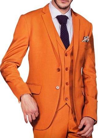 Mens Orange 6 Pc Tuxedo Suit Formal Wedding