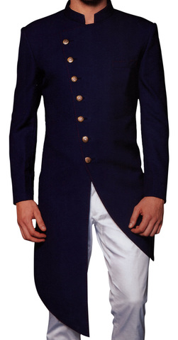Mens Navy Blue Indowestern Sherwani for Grooms