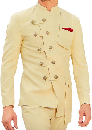 Mens Yellow Nehru Suit with Fashionable Jacket
