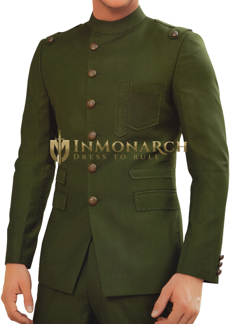 Mens Green Tuxedo Suit Designer Party 2 Pc