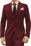 Mens Burgundy 6 pc Tuxedo Suit Marriage Anniversary