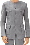 No Collar Mens Gray 2 Pc Tuxedo Suit