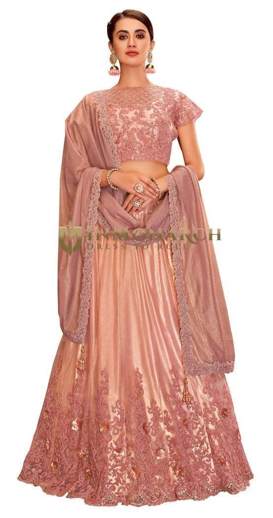 Satin Silk Pink Embroidered Lehenga