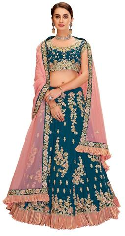 Teal Green Taffeta Silk Bridal Lehenga