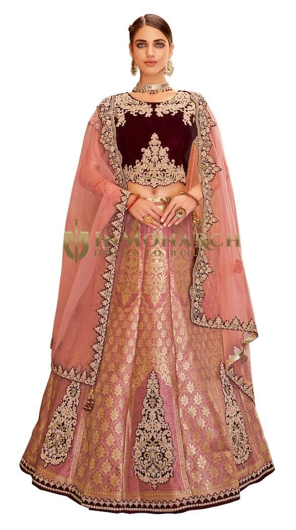 Pink Weaved Silk Designer Lehenga