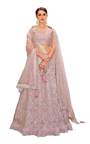 Hot Pink Fancy suede Bridal Lehenga