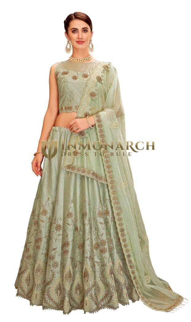 Pastel green dual tone taffeta silk Wedding Lehenga Choli