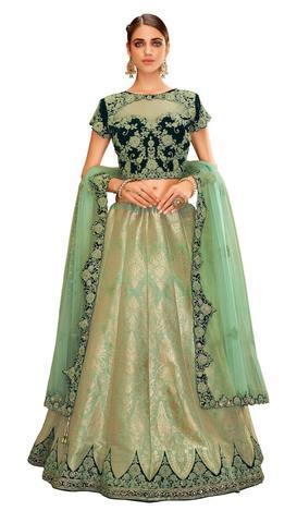 Green Weaved Silk Embroidered Lehenga Choli