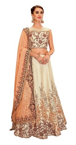 Cream Silk Lehenga Choli