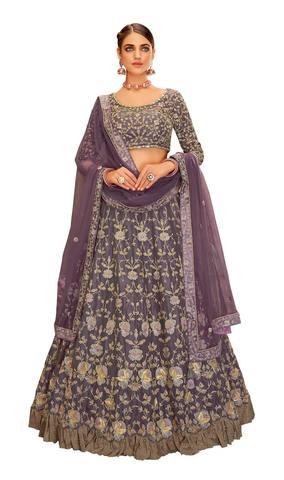 Purple Tissue Designer Lehenga Choli