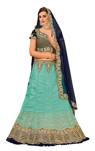 Light Blue Raw Silk Bridal Lehenga Choli