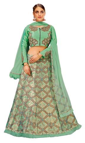 Blue Weaved Silk Designer Lehenga Choli