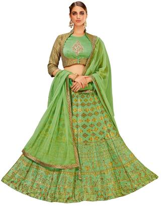 Green Weaved Silk Partywear Lehenga Choli