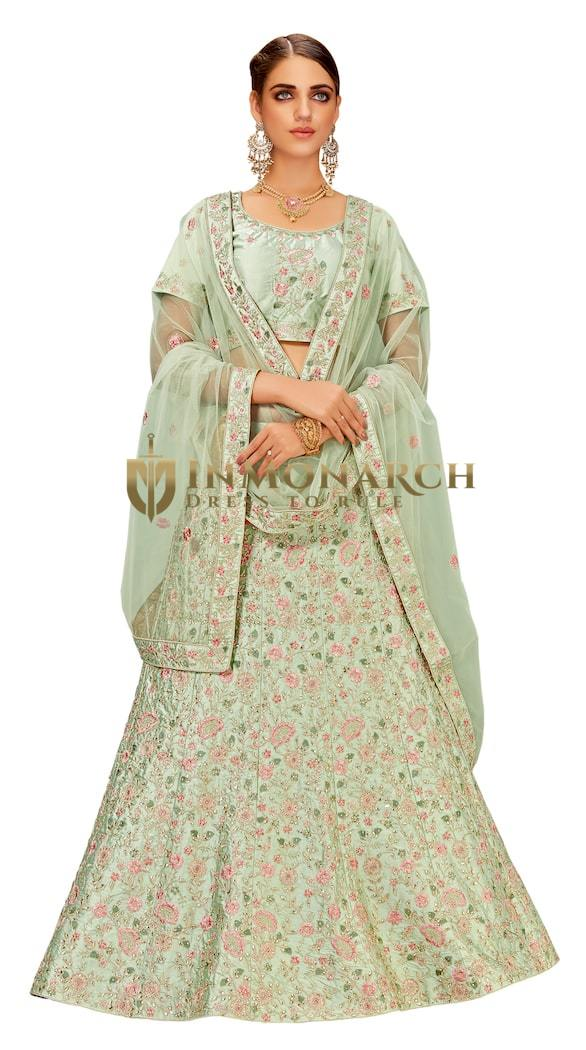Pastel Green Raw Silk Bridal Lehenga