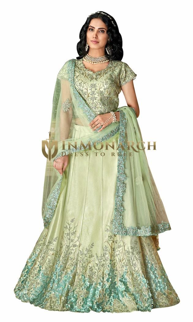 Pastel Green dual tone taffeta Silk Stylish Lehenga Choli