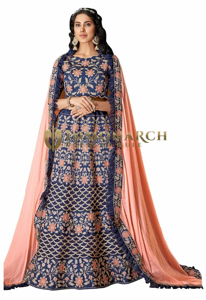 Blue Silk Bridal Lehenga Choli