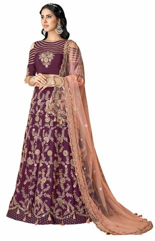 Wine Silk Indian Wedding Lehenga