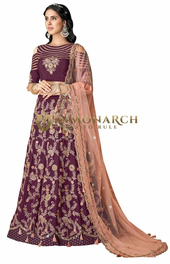 Wine Silk Indian Wedding Lehenga