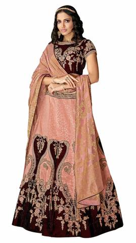 Peach Brocade Velvet Embroidered Bridal Lehenga