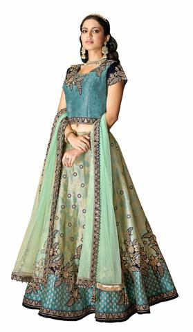 Blue Jacquard Silk Bridal Lehenga Choli