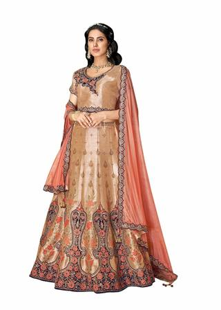 Beige Weaved Silk Wedding Lehenga Choli