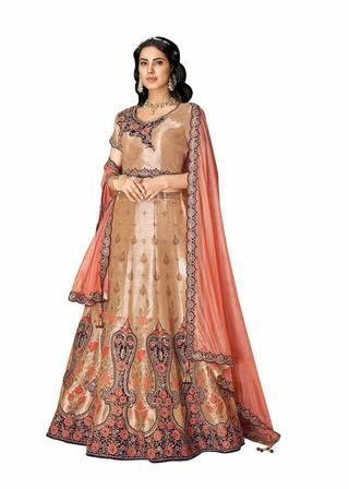 Beige Weaved Silk Wedding Lehenga Choli