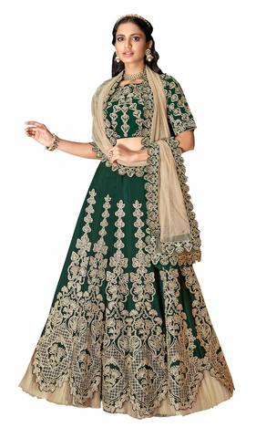 Green Satin Silk Lehenga Choli