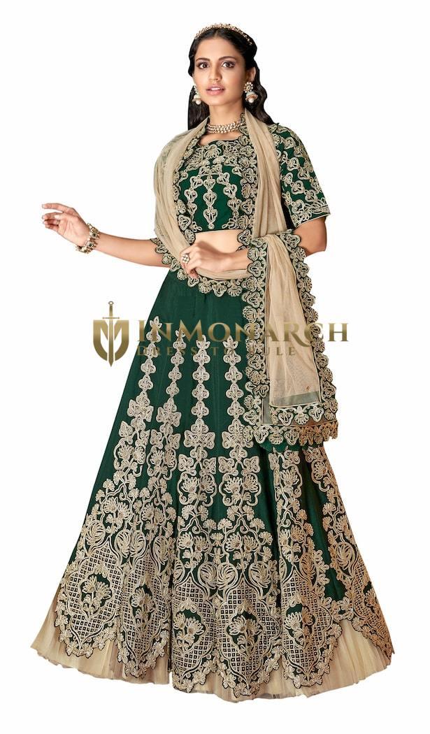 Green Satin Silk Lehenga Choli