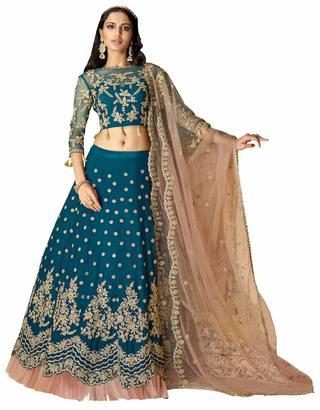 Fantastic Teal Blue Satin Silk Lehenga Choli