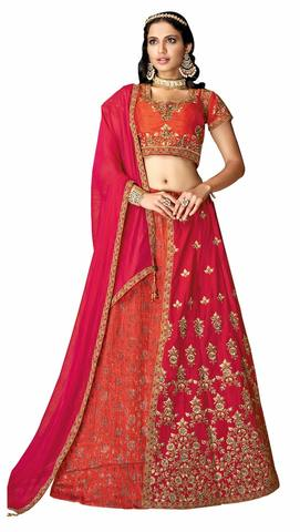 Orange Pink Jacquard Silk Bridal Lehenga Choli