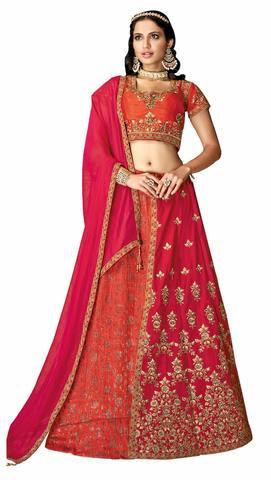 Orange Pink Jacquard Silk Bridal Lehenga Choli