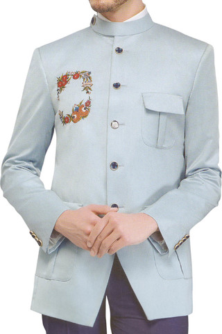 Mens Sky blue Jodhpuri Suit