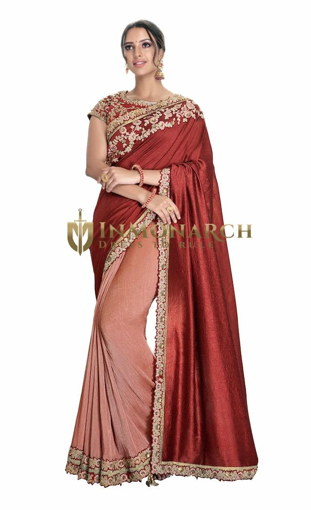 Rust Red Crush Silk Wedding Saree