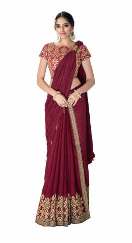 Silk, Crush Silk Maroon Designer Saree