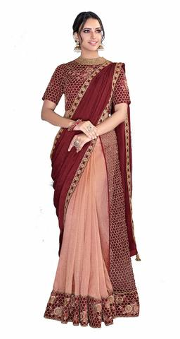 Peach Maroon Silk Embroidered Saree