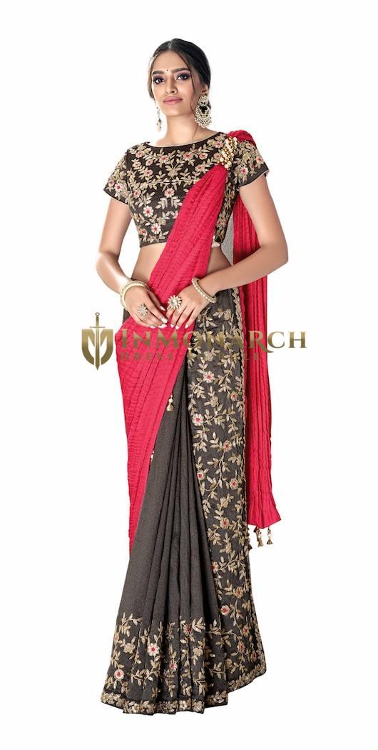 Grey Red Silk georgette Wedding Saree