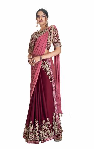 Maroon Silk Georgette Partywear Saree