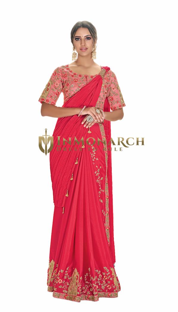 Designer Pink Silk Georgette Bridal Saree
