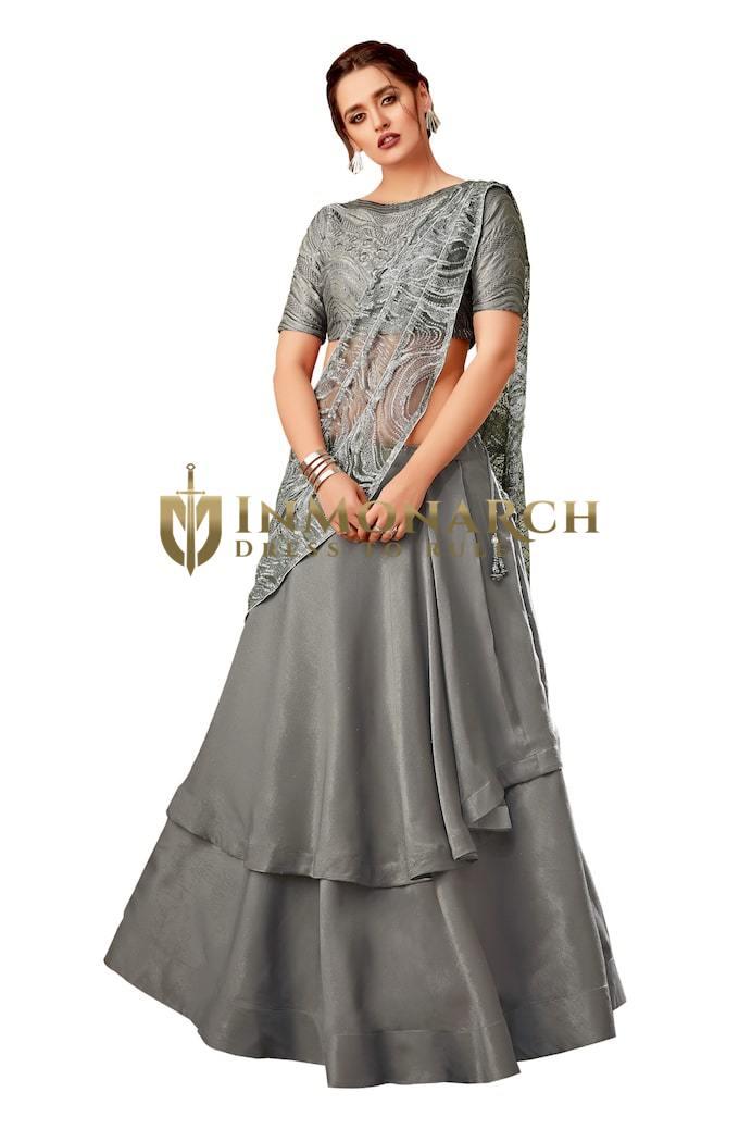 Grey Fancy velvet Partywear lehenga Saree