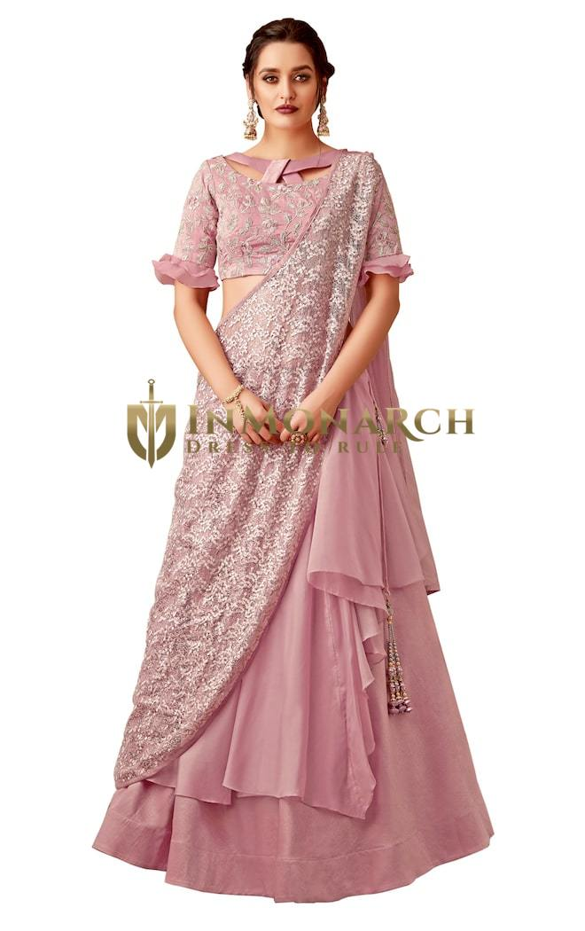 Pink Fancy Velvet,Tissue Designer lehenga Saree