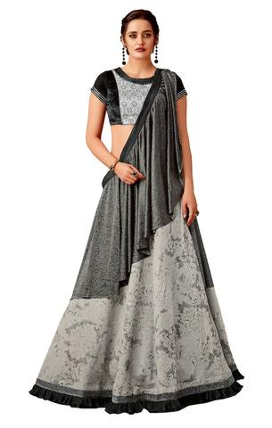 Grey Fancy Jacquard Lehenga Saree