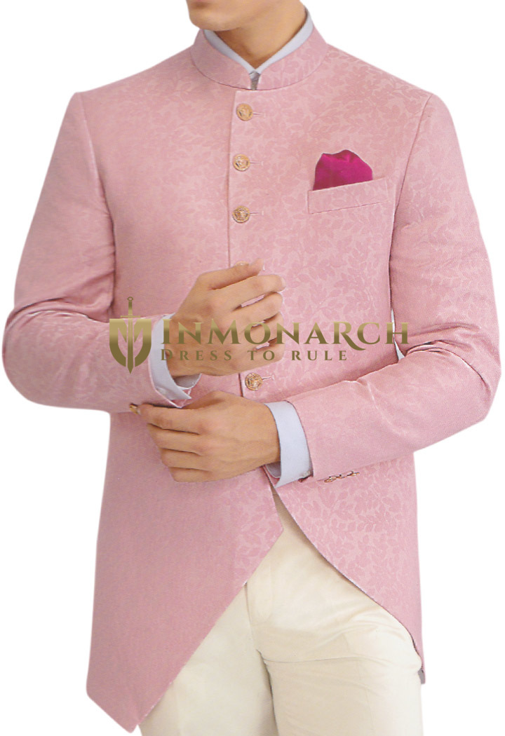 Pink Mens Jodhpuri Suit with Fashionable Nehru collar Jacket