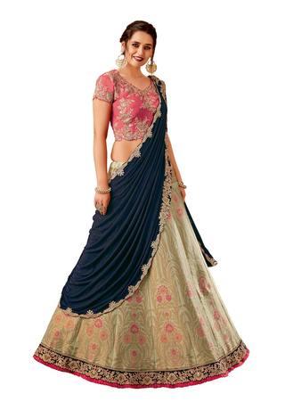 Green weaved silk Bridal lehenga Saree