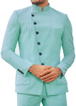 Mens Jade green Jodhpuri Suit with fashionable Nehru collar Jacket