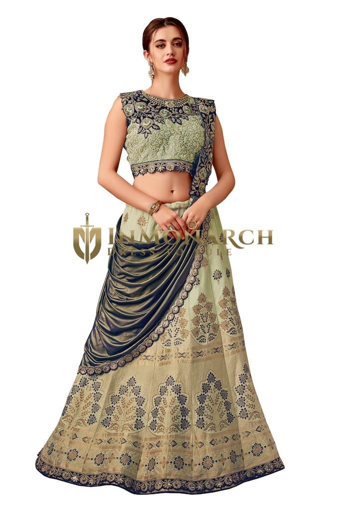 Green Weaved silk Partywear lehenga Saree