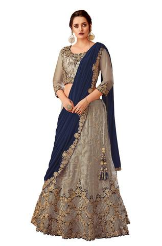 Grey Satin net Designer lehenga Saree