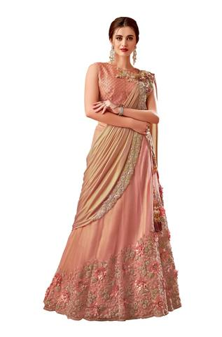 Peach Silk Bridal lehenga Saree