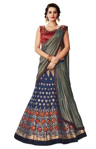 Weaved Silk blue Wedding Lehenga Saree