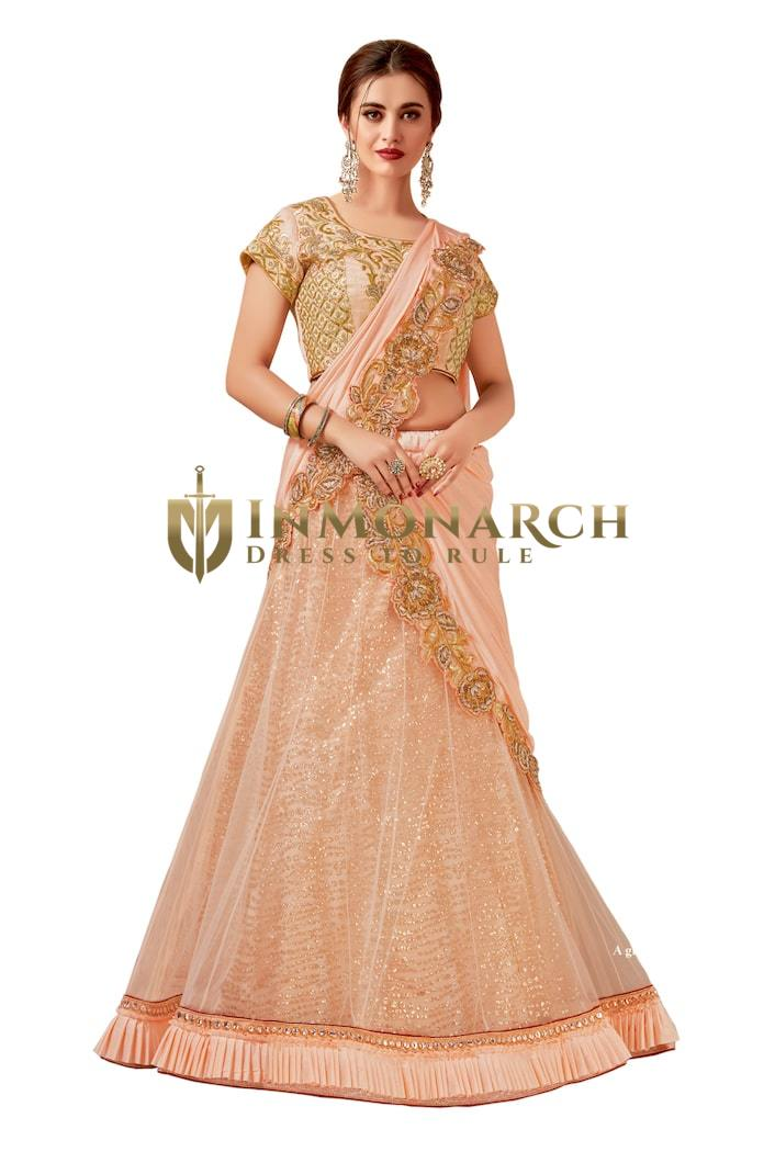Pink Net Partywear Lehenga Saree